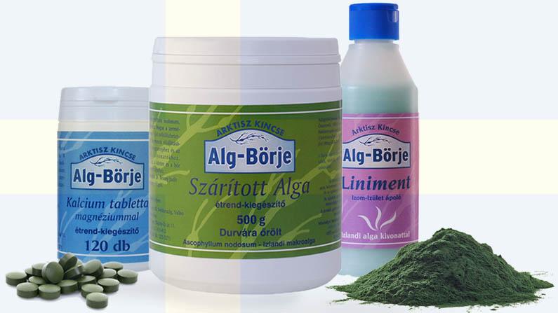 szárított alga, ízület ápoló alga kivonattal, kalcium magnézium tabletta